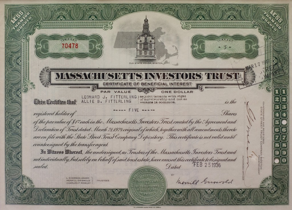 Certificate of first mutual fund - Massachusetts Investors Trust
